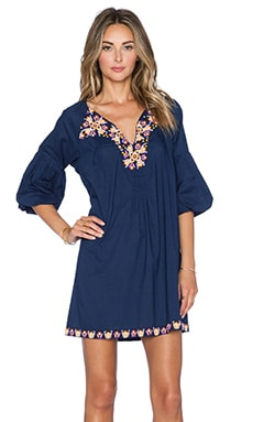 Pia Pauro Embroidered Dress in Navy