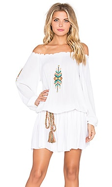 Off Shoulder Embroidered Mini Dress in White