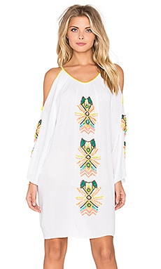 Pia Pauro Cold Shoulder Embroidered Mini Dress in White