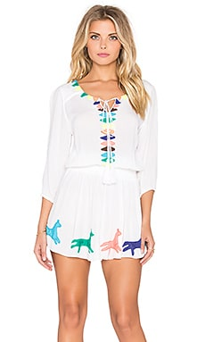 Pia Pauro Embroidered Triangle Mini Dress in White