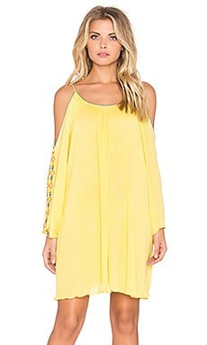 Cold Shoulder Embroidered Mini Dress in Yellow
