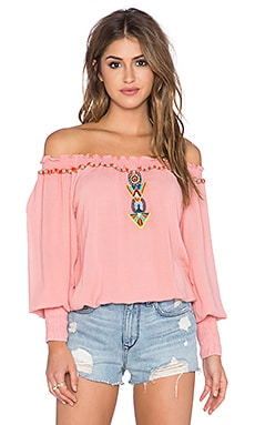 Pia Pauro Long Sleeve Embroidered Peasant Top in Cayenne
