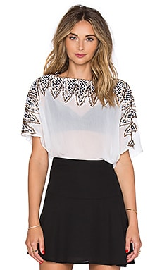 Drop Shoulder Embroidered Top in White