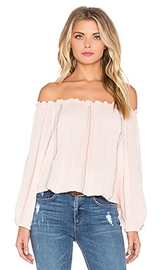 Pia Pauro Embroidered Stripe Top in Nude