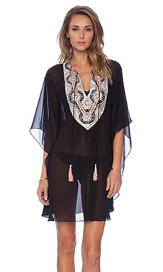 Pia Pauro Embroidered Caftan in Black