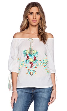 Pia Pauro Embroidered Top in White