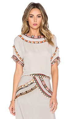 Pia Pauro Short Sleeve Embroidered Top in Storm