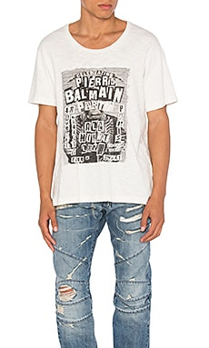 Pierre Balmain Graphic Tee in Off White