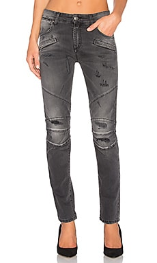 Moto Skinny Jean in Black Denim
