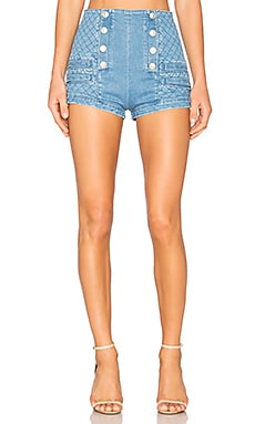 Military High Waist Denim Short