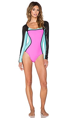 PILYQ Color Block Long Sleeve One Piece in Multi