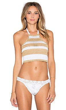 PILYQ Blair Halter Bikini Top in Lux Crochet