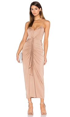 Pink Stitch Cascade Maxi Dress in Mocha