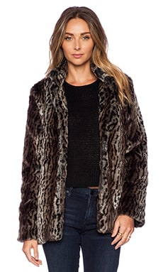 Pink Stitch Wild Faux Fur Coat in Animal