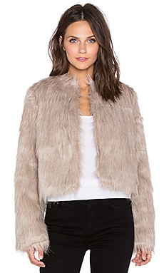 Pink Stitch Faux Sherpa Coat in Grey