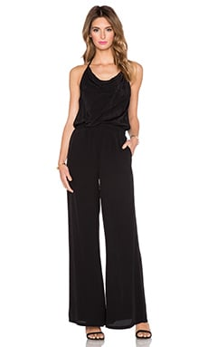Pink Stitch Drape Neck T-Back Jumpsuit in Black