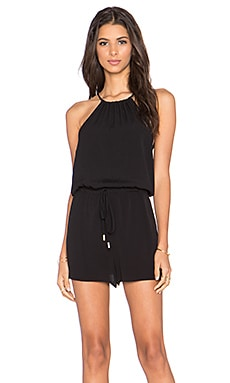 Pink Stitch Laine Playsuit in Black
