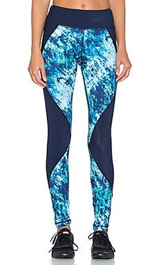 Pink Lotus Midnight Run Print Blocked Legging in Crystal Blue