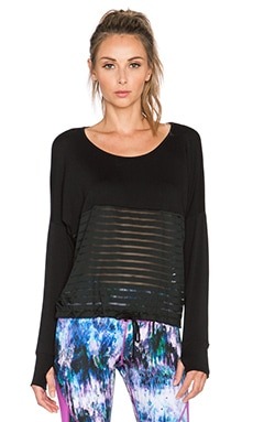 Pink Lotus Hide Out Boat Neck Top in Black