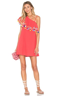 PIPER Java One Shoulder Dress in Coral