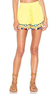 Java Pom Pom Short en Neon Yellow