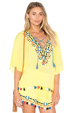 PIPER Java V Neck Top in Neon Yellow
