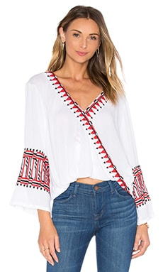 PIPER Butuan V Neck Drape Long Sleeve Top in White