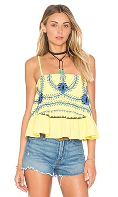 Sumatra Ruffle Crop Tank in Neon Yellow