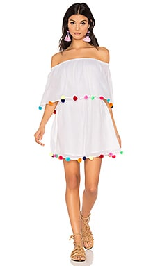 Pom Pom Festival Dress in White