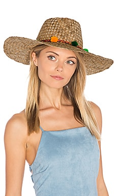 Pom Pom Farmers Wide Rim Hat in Multi