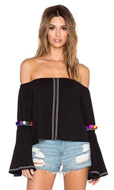 Pitusa Pom Pom Crop Top in Black