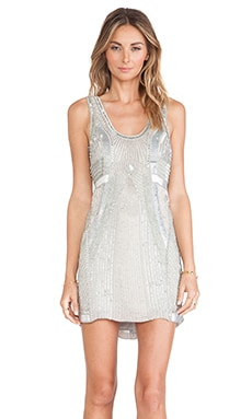 Parker Comoros Sequin Dress in Silver