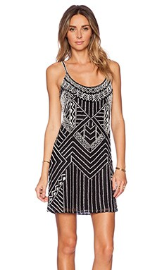 Parker Hayden Embellished Dress in Black & Ivory
