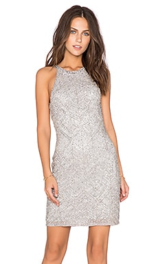 Parker Audrey Embellished Dress in Silver