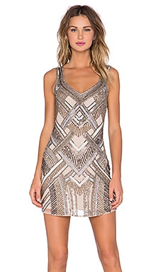 Parker Flow Embellished Dress in Nude