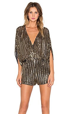 Parker Kimora Sequin Romper in Antique Gold