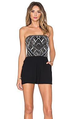 Parker Granite Sequin Romper in Black