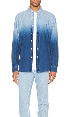Indigo Solid Button Down Shirt Polo Ralph Lauren $101