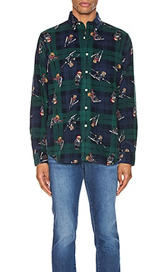 Printed Corduroy Long Sleeve Shirt Polo Ralph Lauren $125
