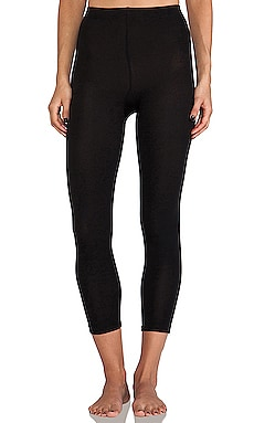 Footless Fleece Lined Leggings in Black