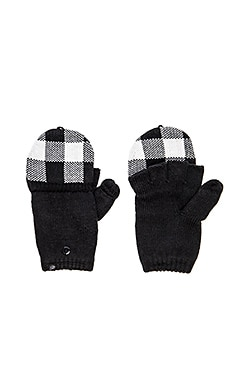 Plush Fleece Lined Plaid Mittens in Black & White