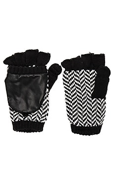 Herringbone Texting Mittens in Black & White