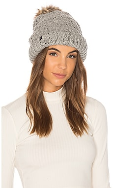 Fleece Lined Chunky Knit Beanie With Faux Fur Pom Plush $66