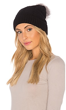 Vegan Cashmere Beanie With Faux Fur Pom