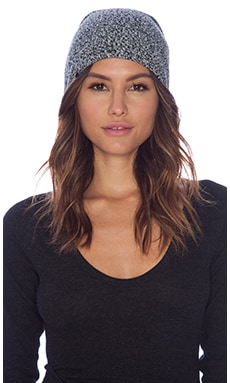 Plush Marled Slouchy Beanie in Black/White