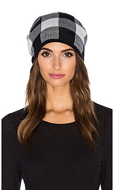 Plush Plaid Beanie in White & Black