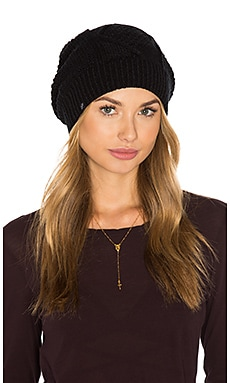 Diamond Cable Knit Beanie in Schwarz