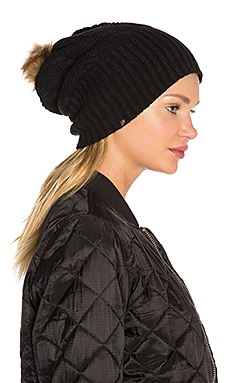 Fleece-Lined Faux Fur Pom Pom Hat in Schwarz