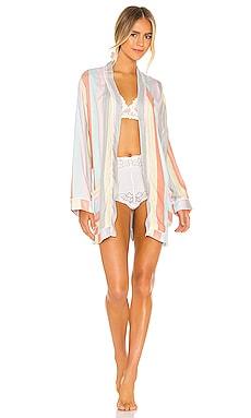 Ultra Soft Rainbow Stripe Robe & Scrunchie Set Plush $143