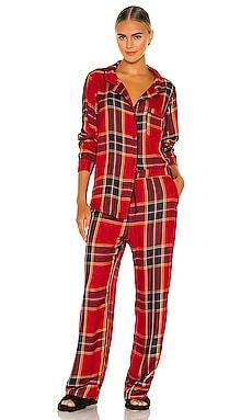 Ultra Soft Woven Plaid Pajama & Scrunchie Set Plush $158